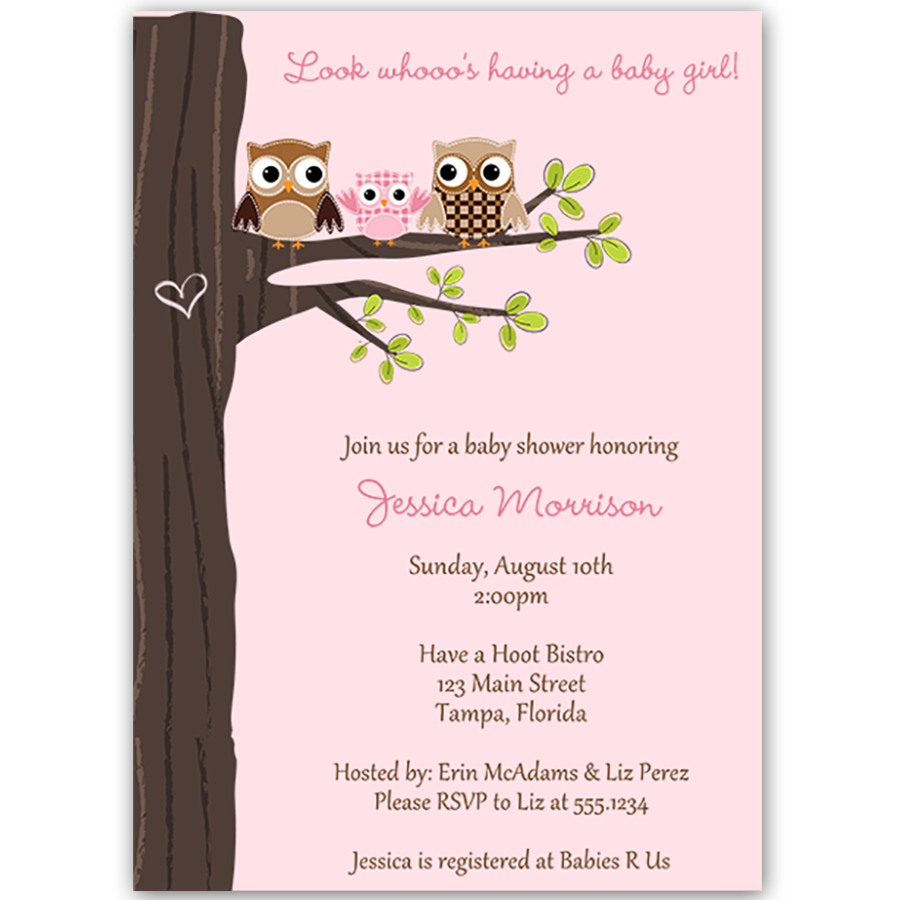 Hootin' Tree Pink Baby Shower Invitation