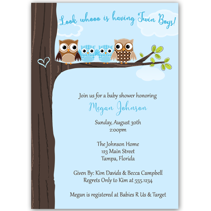 Hootin Tree Blue Twins Baby Shower Invitation The Invite Lady
