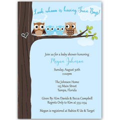 Hootin' Tree Blue Twins Baby Shower Invitation
