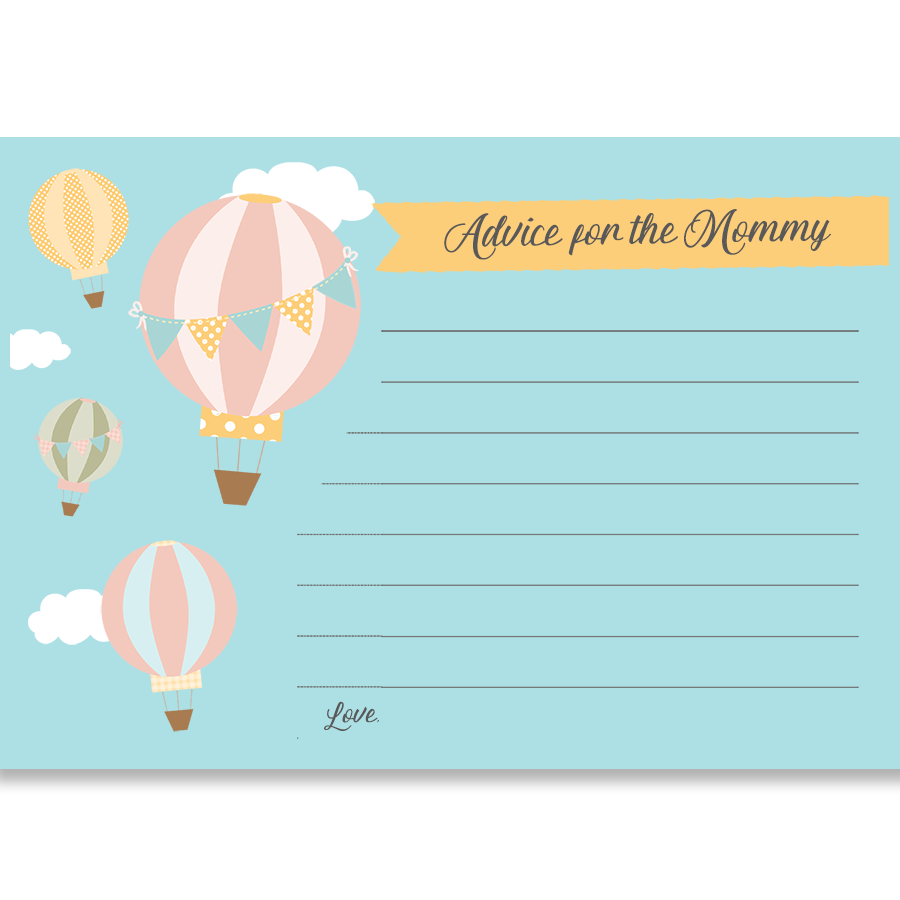 Up And Away Hot Air Balloon Advice Card