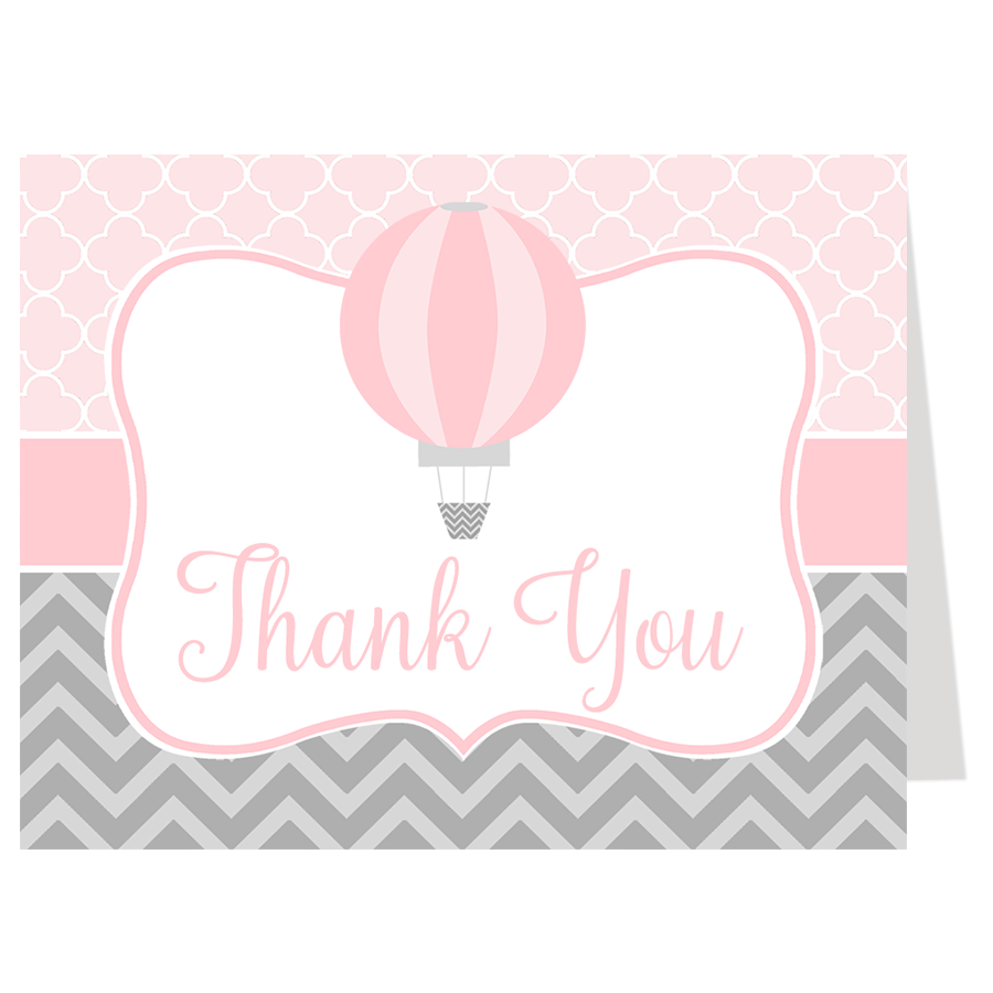 Hot Air Balloon Pink Thank You Card The Invite Lady