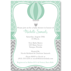 Hot Air Balloon Green Baby Shower Invitation