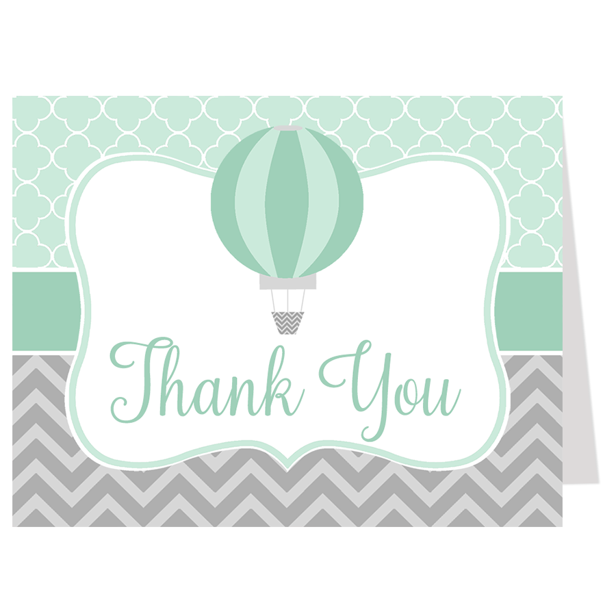 Hot Air Balloon Green Thank You Card