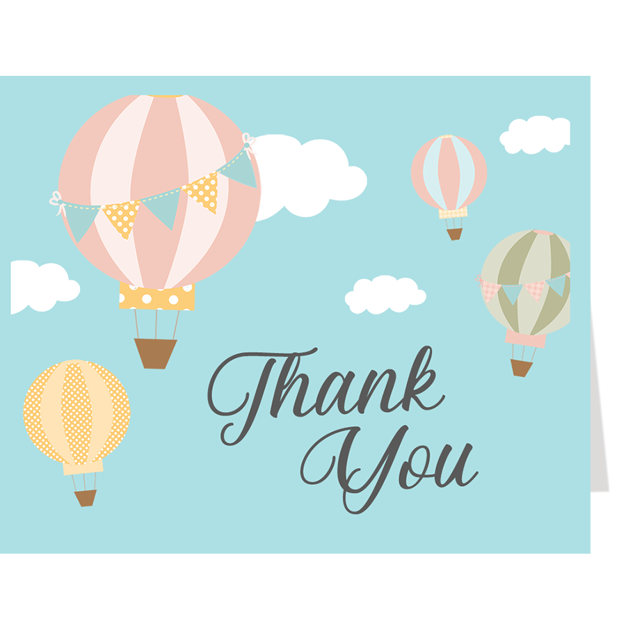 Up and Away Hot Air Balloon Thank You Card