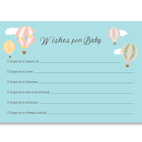Up And Away Hot Air Balloon Wishes Card