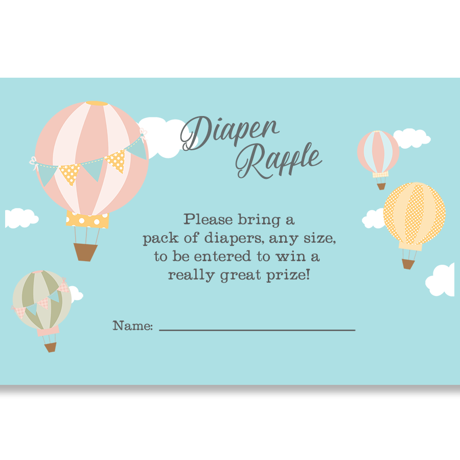 Up And Away Hot Air Balloon Diaper Raffle Ticket