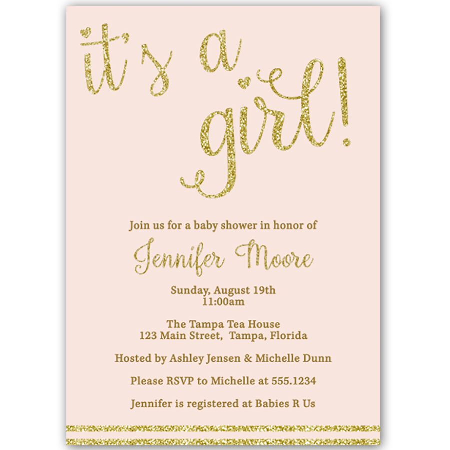 Its A Girl Gold Baby Shower Invitation The Invite Lady