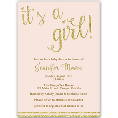 It's a Girl Gold Baby Shower Invitation