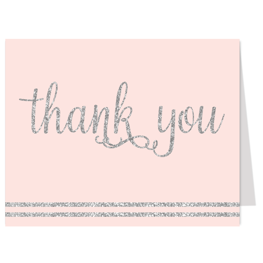 It's a Girl Pink and Silver Thank You Card