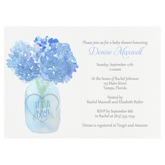 Jar Of Hydrangeas Blue Baby Shower Invitation