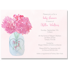 Jar Of Hydrangeas Pink Baby Shower Invitation