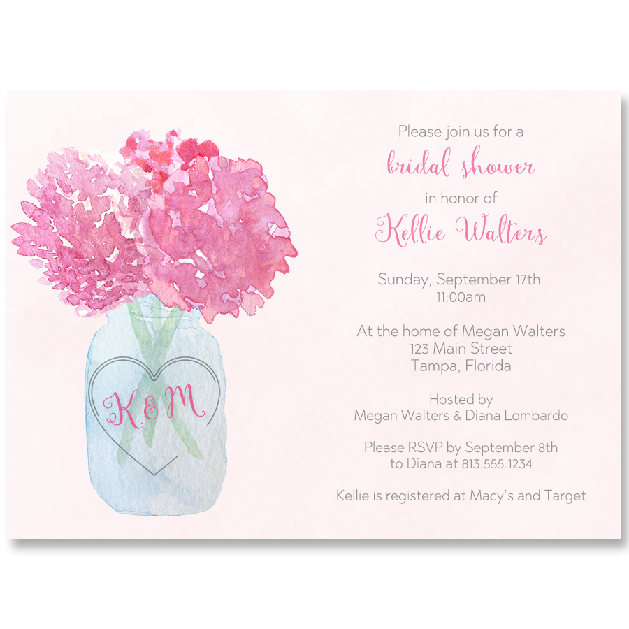 Jar Of Hydrangeas Pink Bridal Shower Invitation