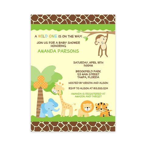 Jungle Safari, Baby Shower Invitation