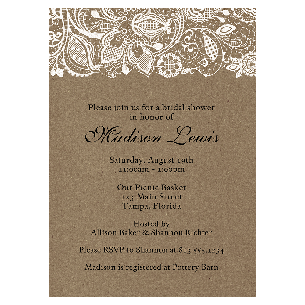 Kraft and Lace, Bridal Shower Invitation