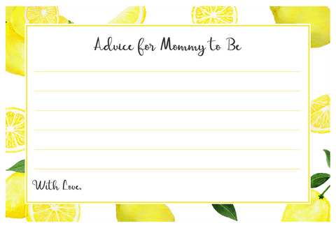 Lemon Squeeze Baby Shower Advice Card