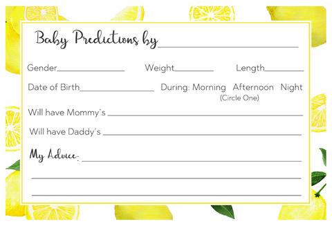 Lemon Squeeze Baby Shower Prediction Card