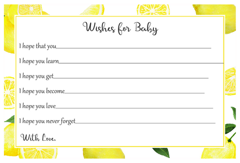 Lemon Squeeze Baby Shower Wishes Card