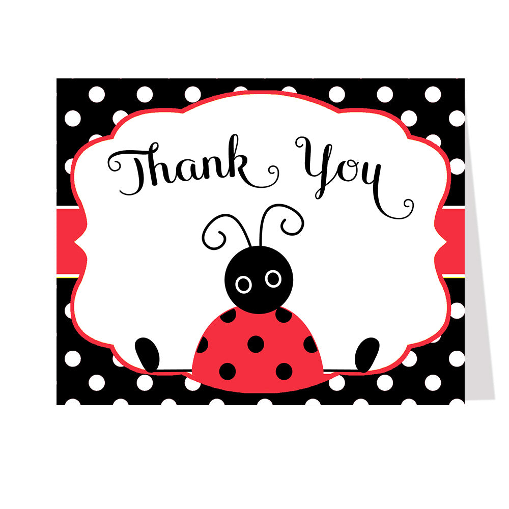 Lil' Ladybug, Red and Black, Thank You Card