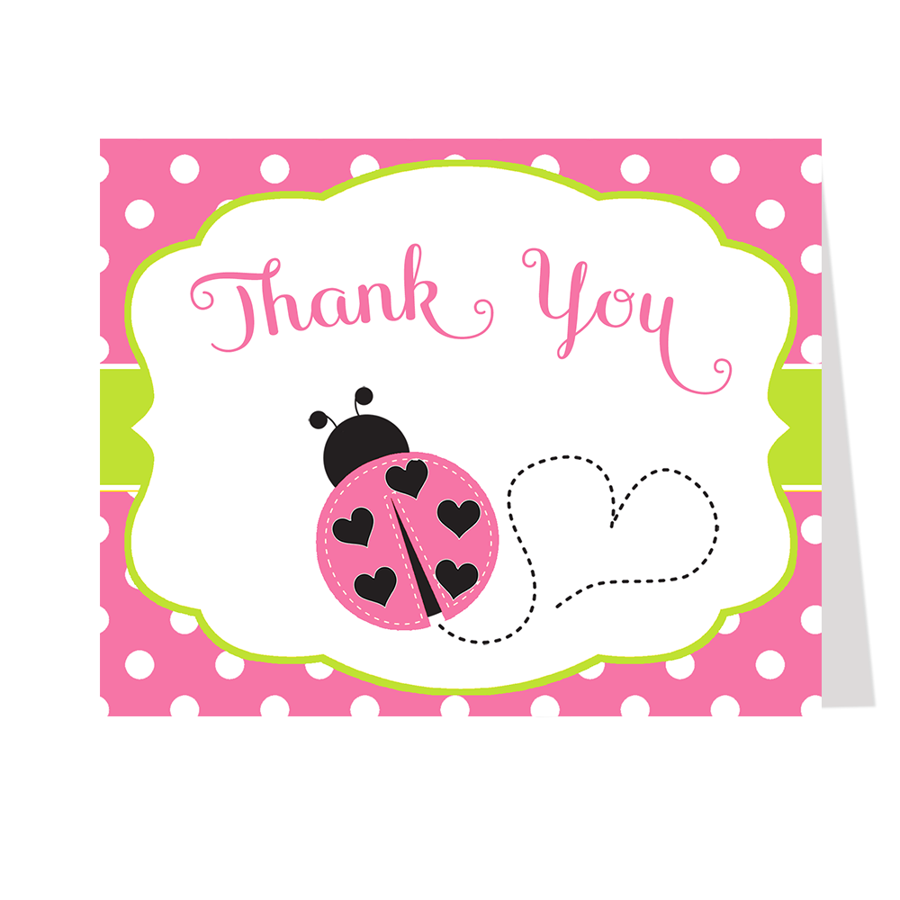 Lil' Ladybug, Pink and Green, Thank You Card