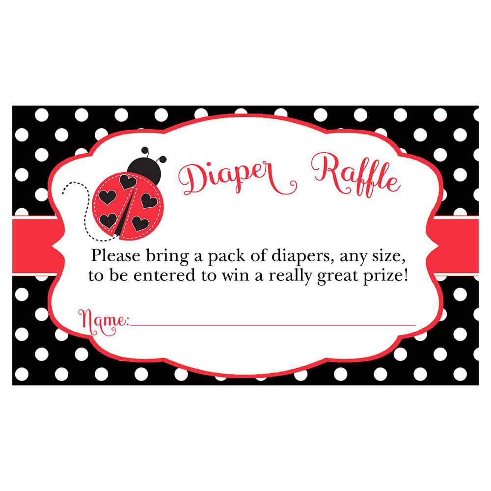 Lil' Ladybug, Red and Black, Diaper Raffle Ticket