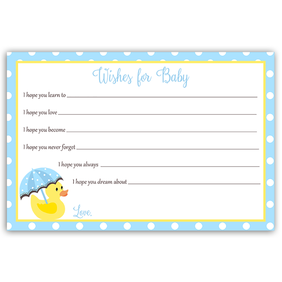 Little Duck Blue Wishes Card