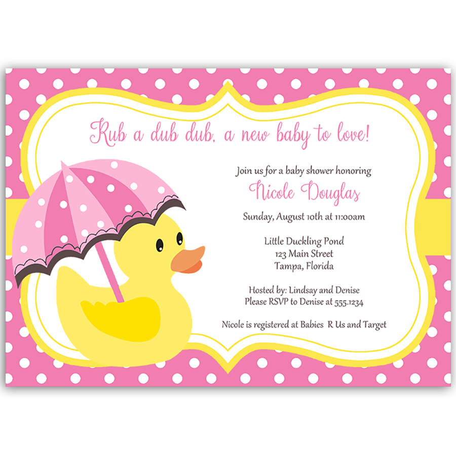 Little Duck Pink Baby Shower Invitation – The Invite Lady