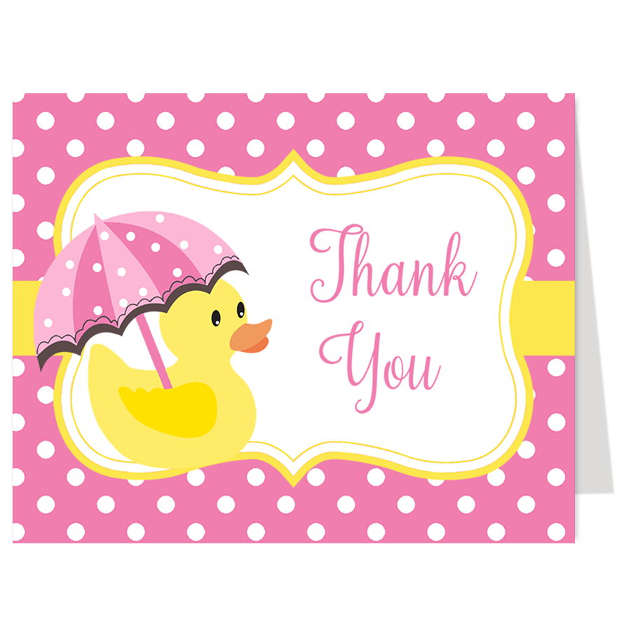 Little Duck Pink Thank You Card