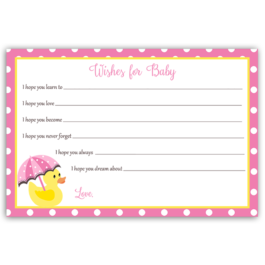 Little Duck Pink Wishes Card
