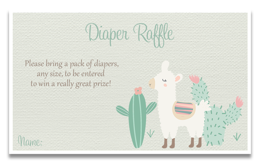 Little Llama Green Diaper Raffle Ticket