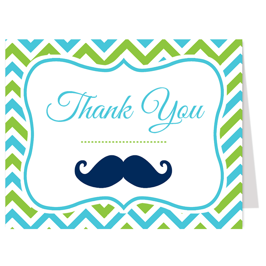 Little Man Green and Blue Thank You Card
