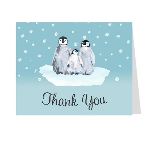 Little Penguin Baby Shower Black Thank You Card