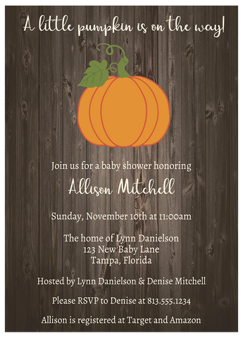 Country Pumpkin Baby Shower Invitation