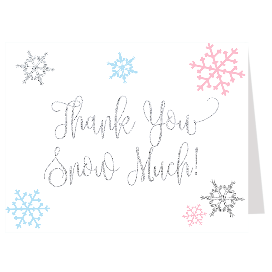 Little Snowflake, Pink and Blue, Thank You Card