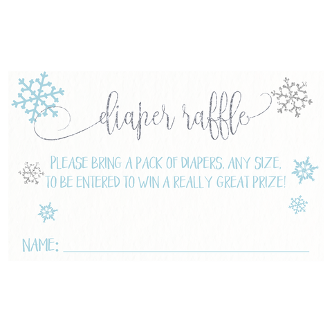 Little Snowflake Baby Shower Diaper Raffle Tickets, Blue