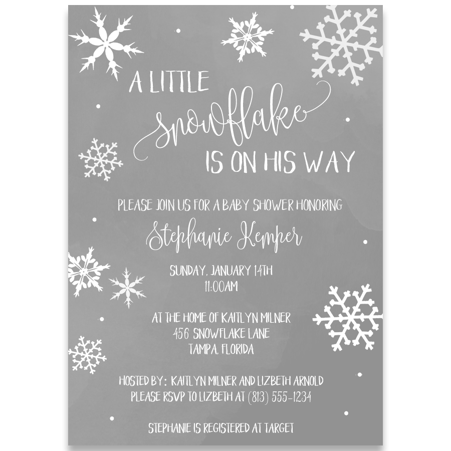Little Snowflake Baby Shower Invitation Gray The Invite Lady