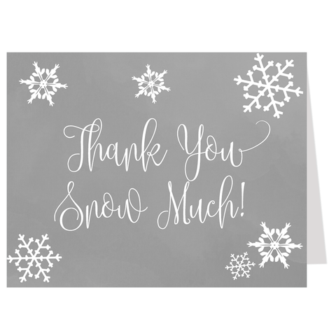 Little Snowflake Thank You Card, Gray