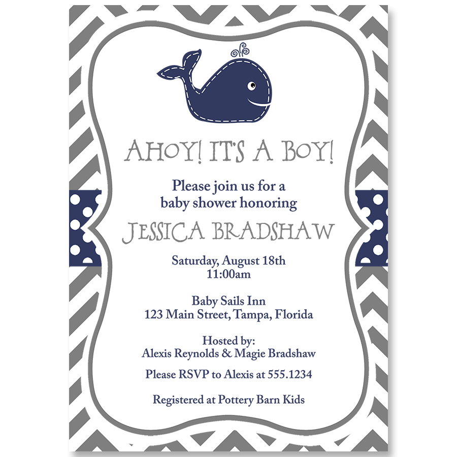 Little Squirt Navy and Gray Baby Shower Invitation