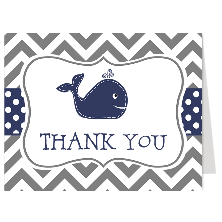 Little Squirt Navy and Gray Thank You Card