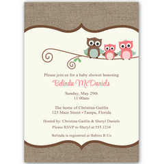 Burlap Owls Pink Baby Shower Invitation