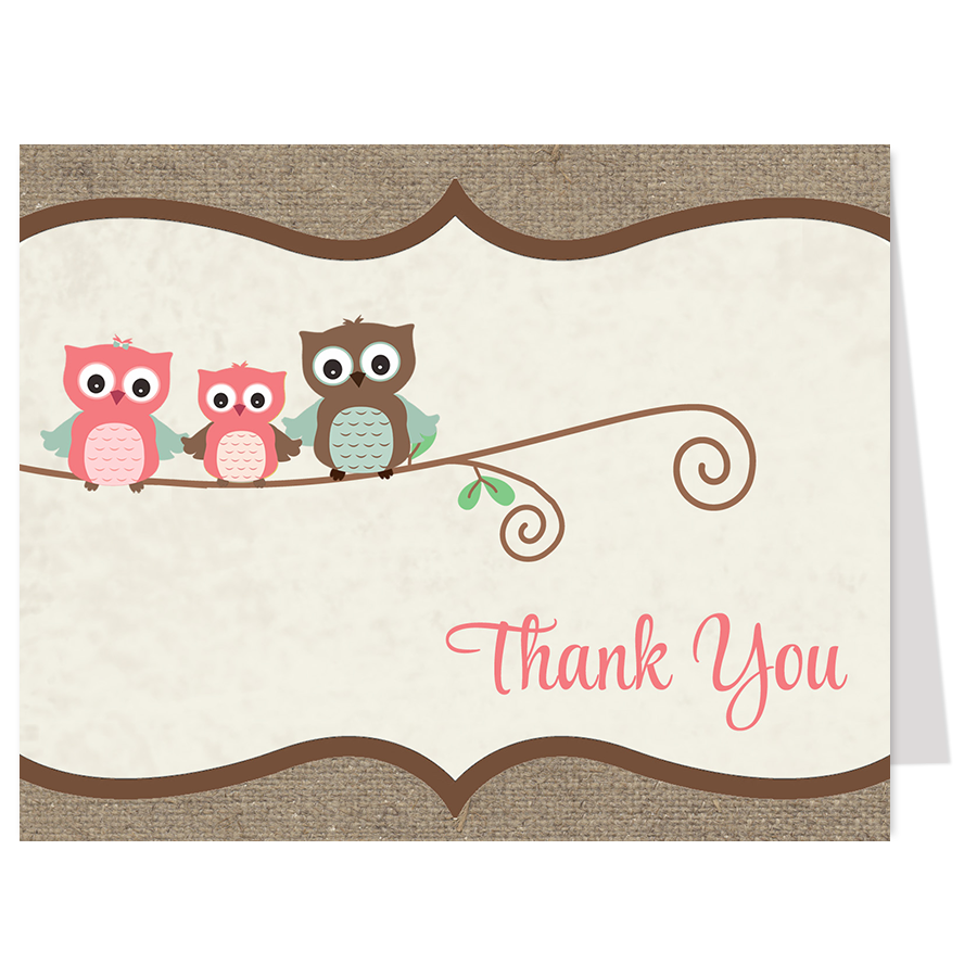 Burlap Owls Pink Thank You Card