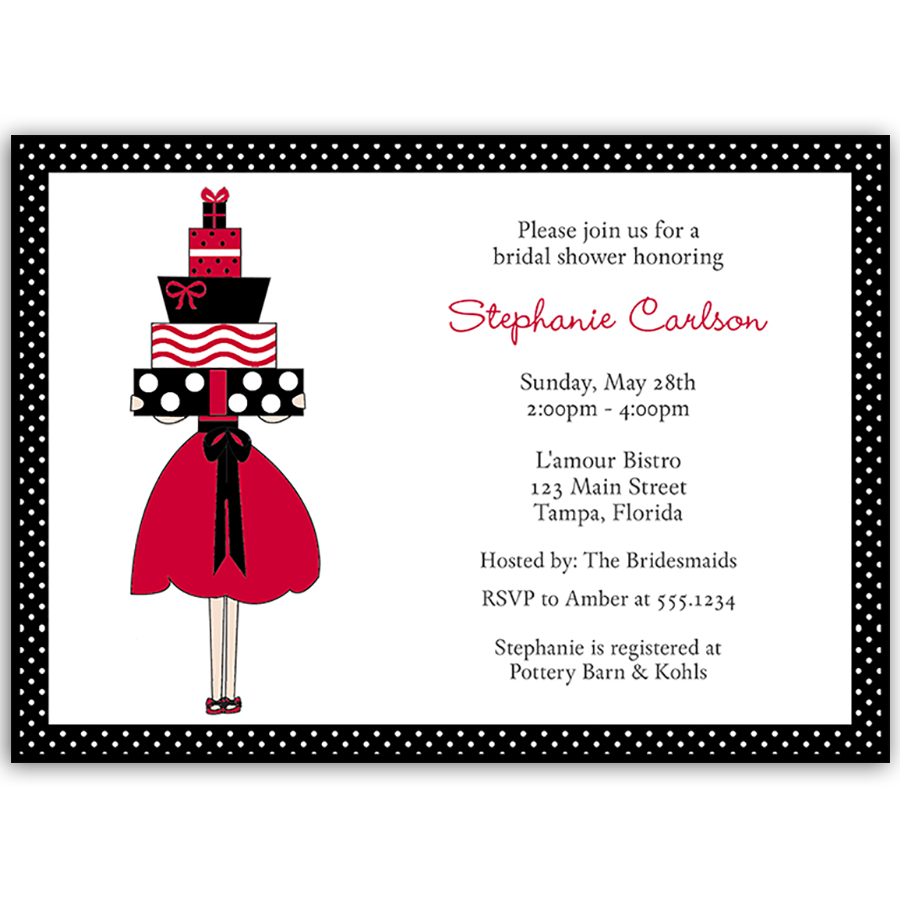 Lots of Love Red Bridal Shower Invitation