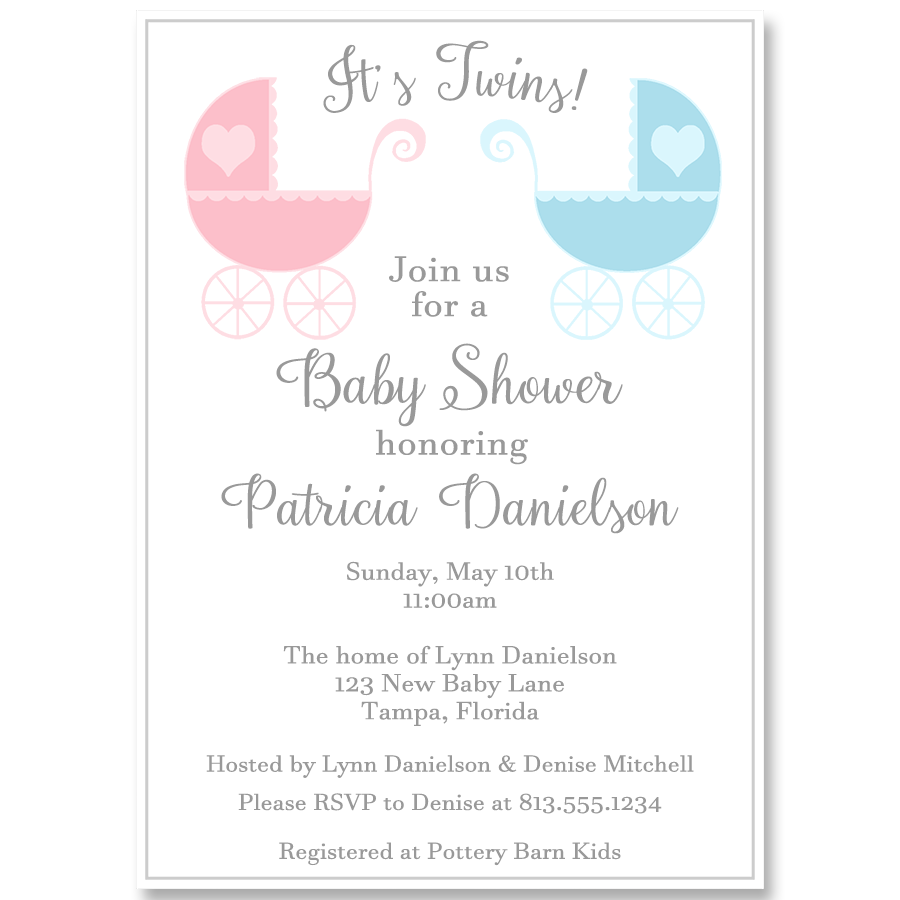 Lovely Carriages Twins Baby Shower Invitation