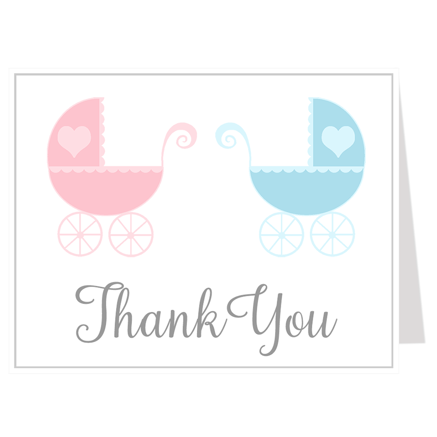 Lovely Carriages Twins Thank You Card