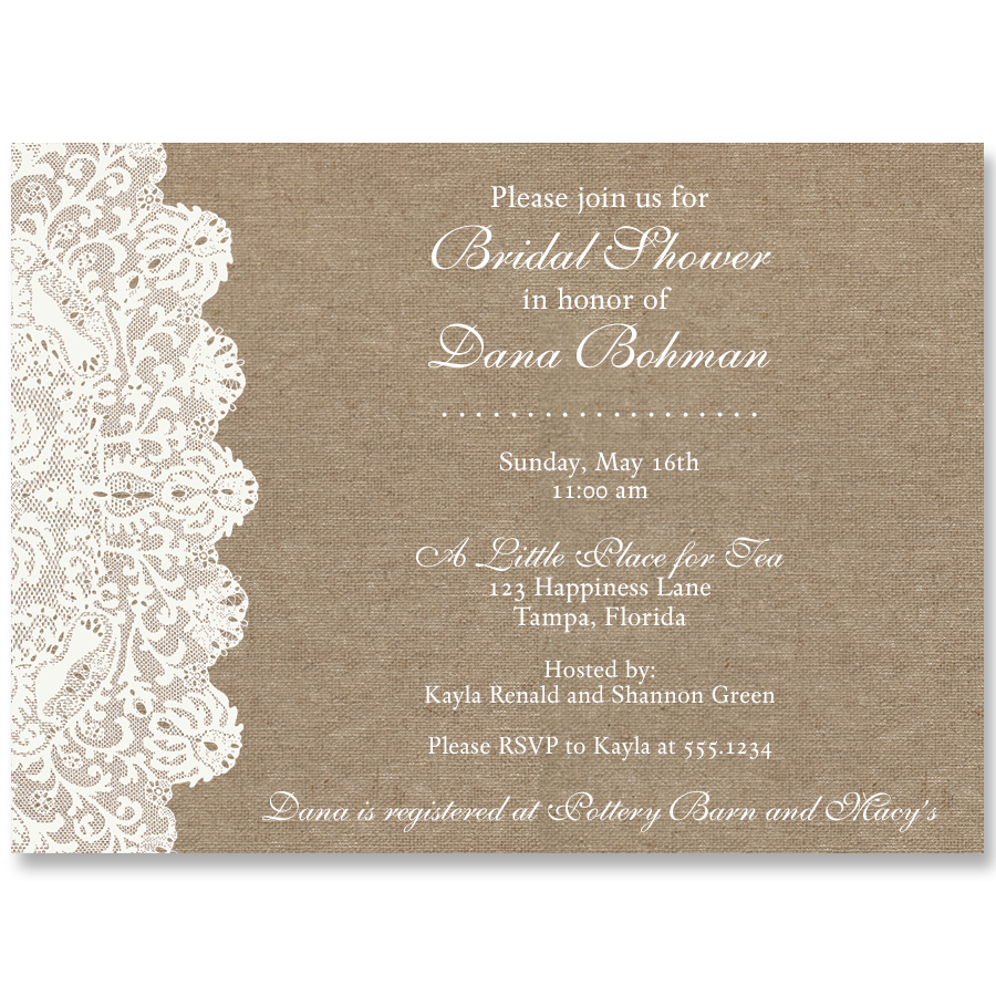 Lovely Lace, Burlap, Bridal Shower Invitation