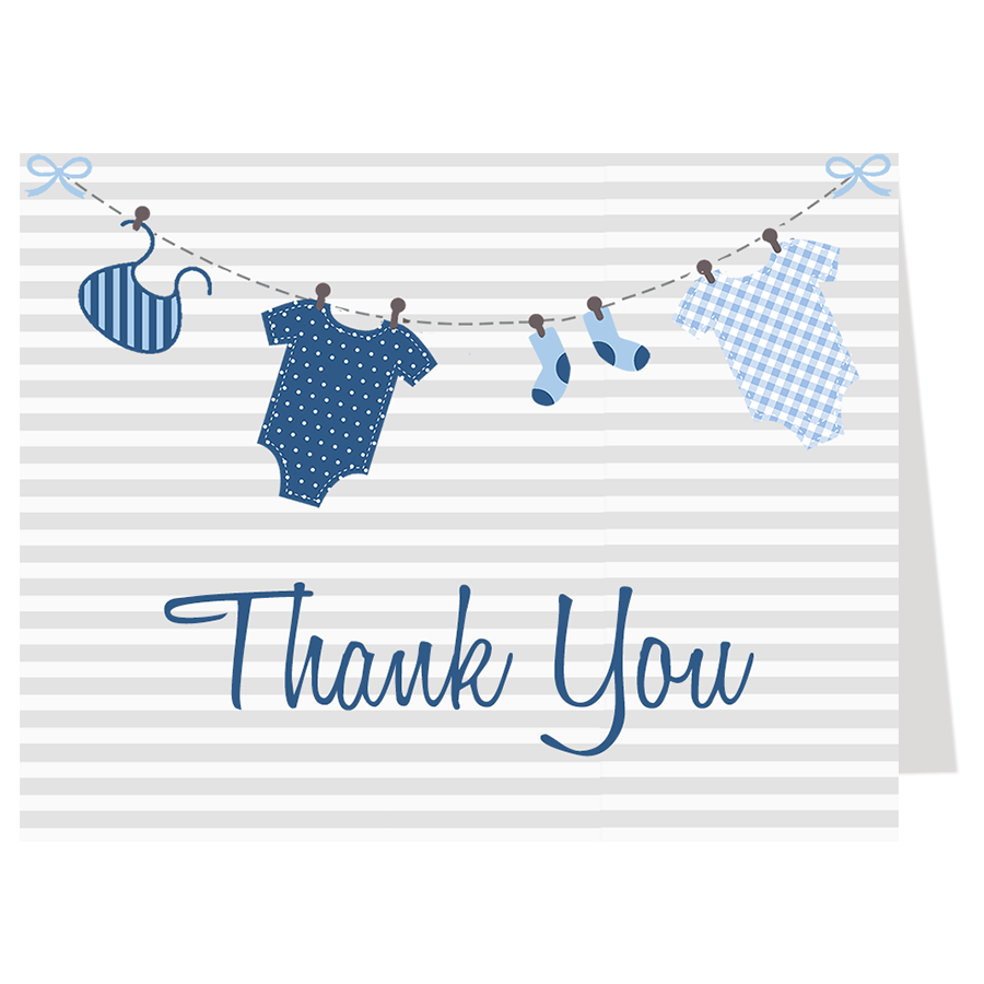 Lovely Laundry Blue Baby Shower Thank You Card