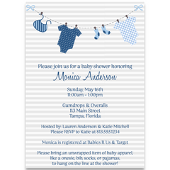 Lovely Laundry Blue Invitation