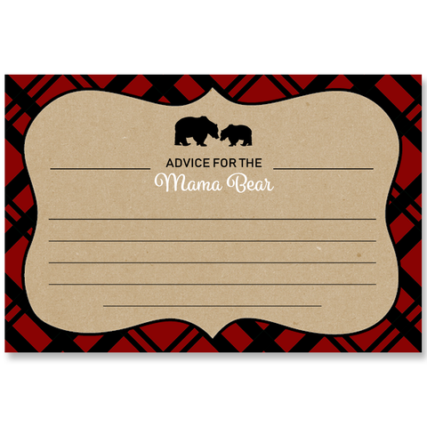Lumberjack Baby Shower Red Advice Card
