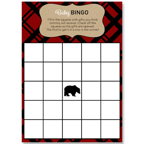 Lumberjack Baby Shower Red Bingo Card