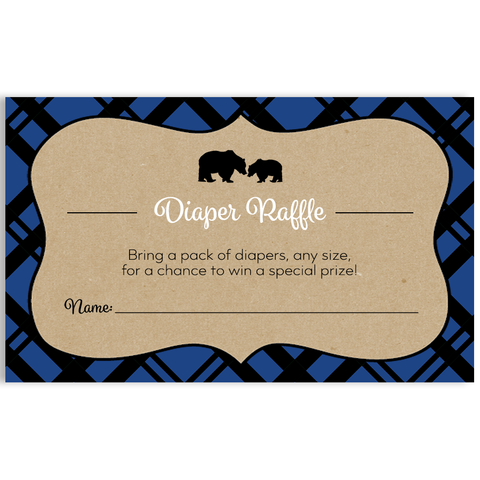 Lumberjack Blue Diaper Raffle Ticket