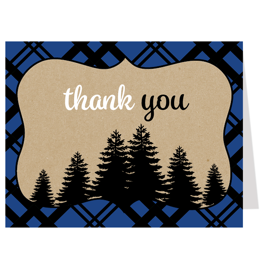 Lumberjack Baby Shower Blue Thank You Cards